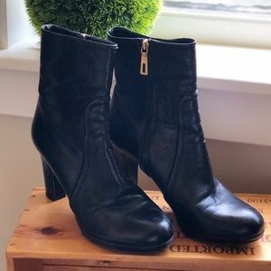 Prada Black Leather Zip Ankle Boots